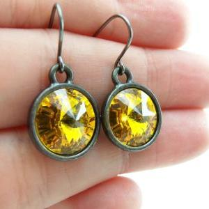 Sunflower Yellow Earrings Crystal D..