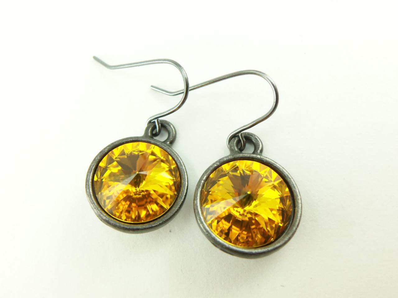 Sunflower Yellow Earrings Crystal Drop Earrings Yellow Dangle Earrings Dark Silver Gunmetal Crystal Earrings