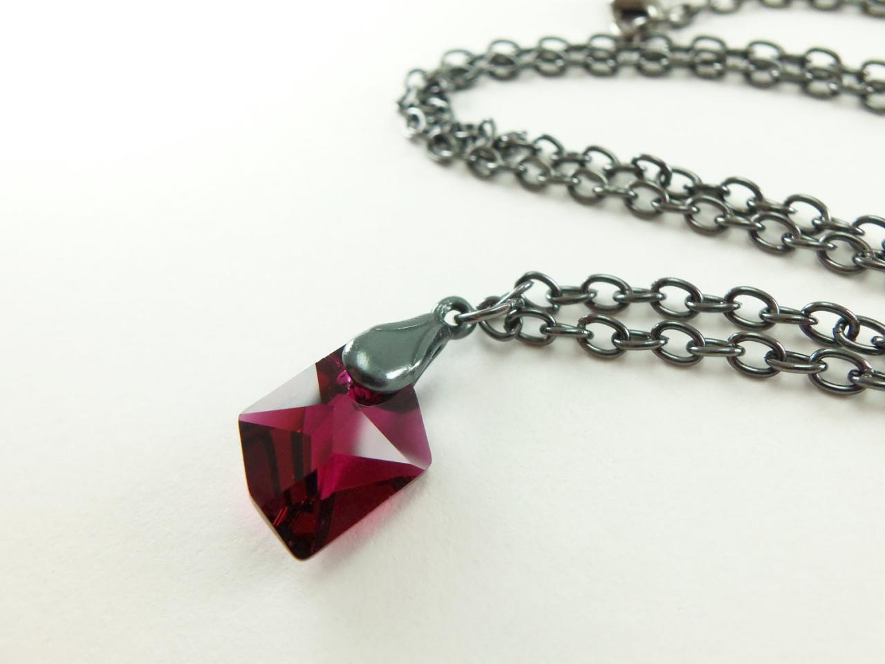 Jewelry Ruby Necklace Dark Silver Swarovski Crystal July Birthstone