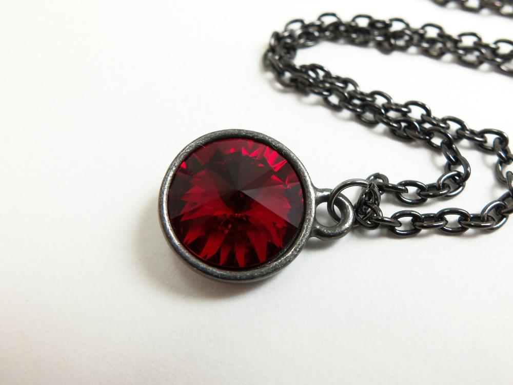 Blood red necklace ruby red jewelry deep red crystal necklace july blood red necklace ruby red jewelry deep red crystal necklace july birthstone dark gun metal jewelry aloadofball Image collections