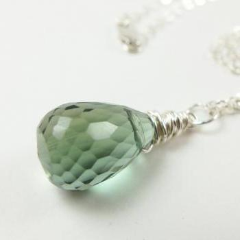 Moss Green Necklace Crystal Jewelry Sterling Silver Wire Wrapped Large Teardrop